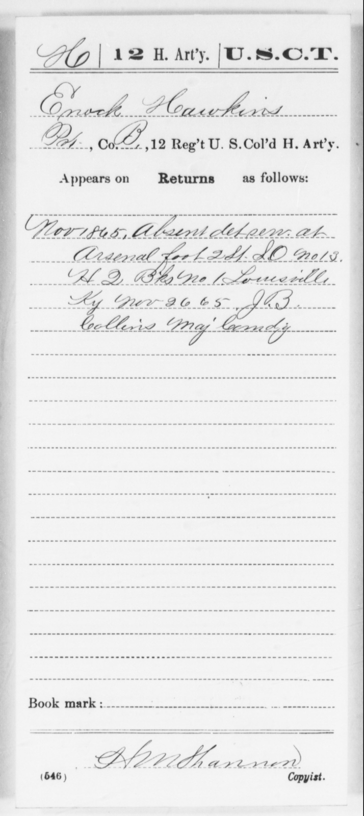 Hawkins, Enock - Age [Blank], Year: 1865 - 12th US Colored Heavy Artillery, Wo-Y AND Misc Cards, B-H - United States Colored Troops: Artillery Organizations