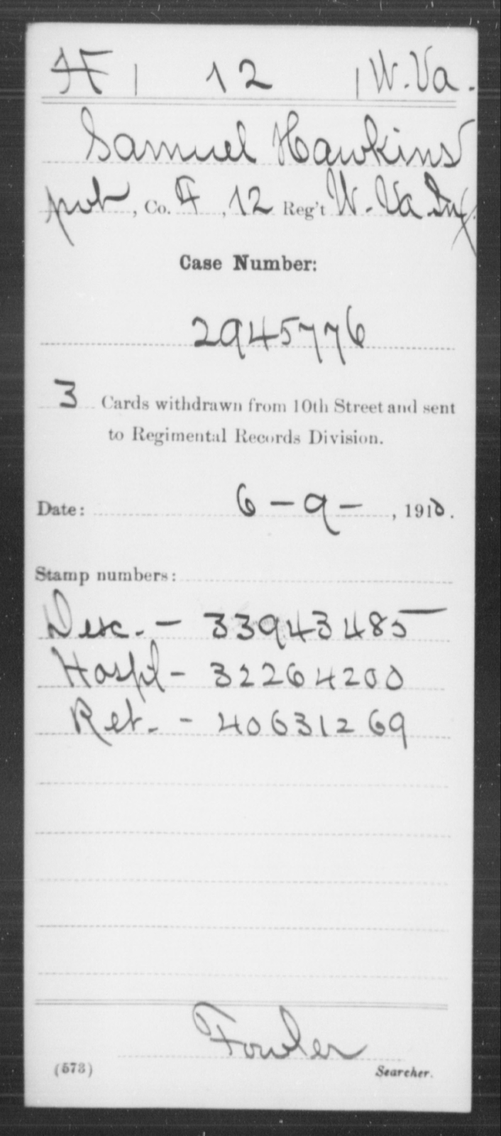 Hawkins, Samuel - Age [Blank], Year: [Blank] - Miscellaneous Card Abstracts of Records - West Virginia