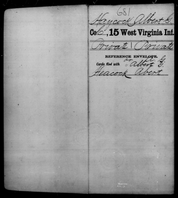 Haycock, Albert G - Age [Blank], Year: [Blank] - Fifteenth Infantry - West Virginia