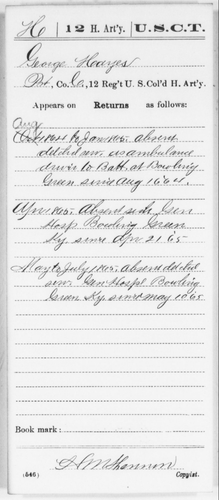 Hayes, George - Age [Blank], Year: 1864 - 12th US Colored Heavy Artillery, Wo-Y AND Misc Cards, B-H - United States Colored Troops: Artillery Organizations