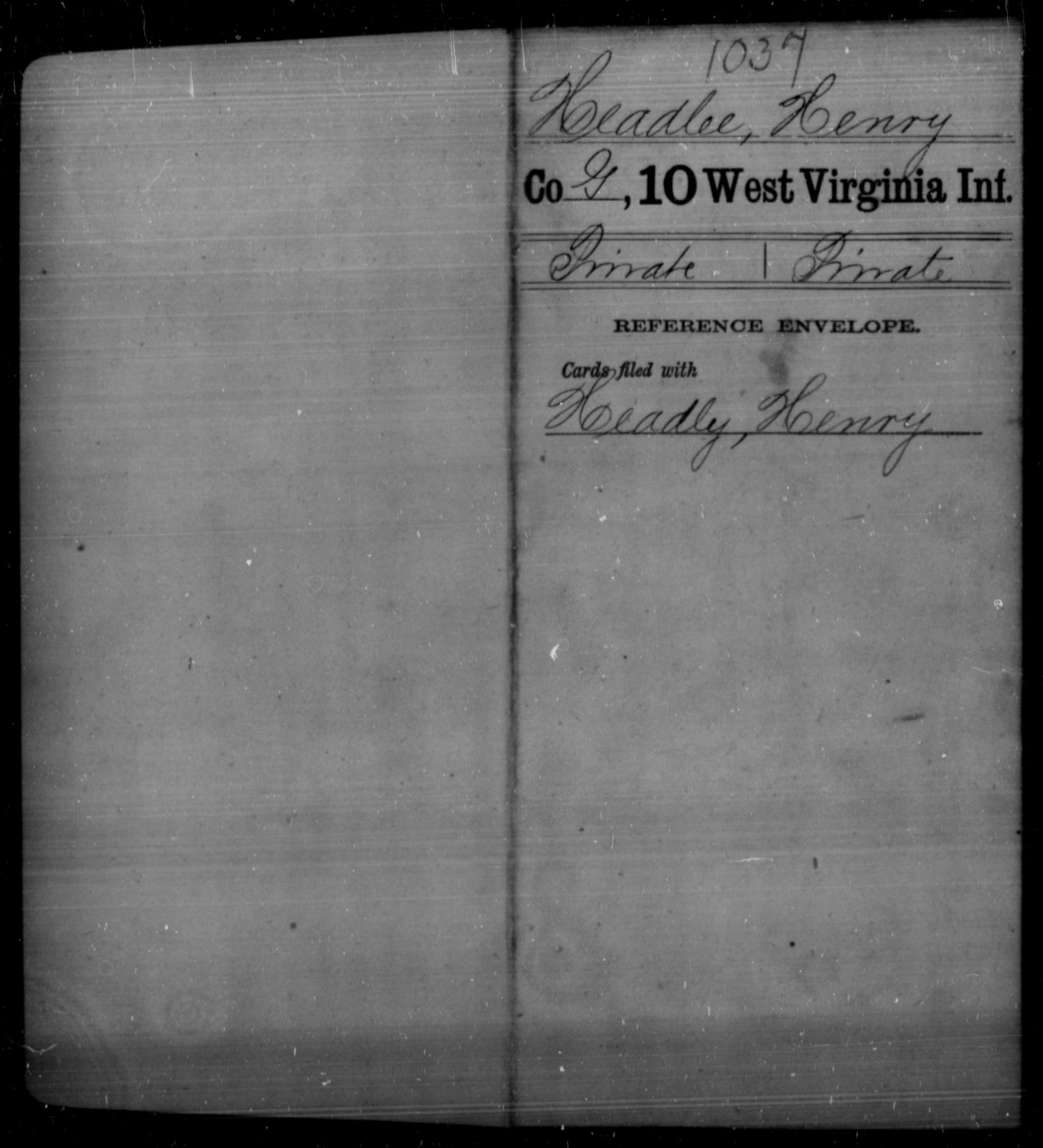 Headlee, Henry - Age [Blank], Year: [Blank] - Tenth Infantry - West Virginia