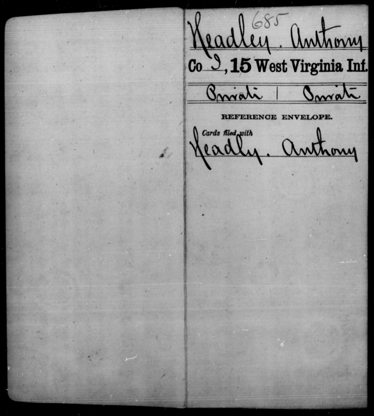 Headley, Anthony - Age [Blank], Year: [Blank] - Fifteenth Infantry - West Virginia