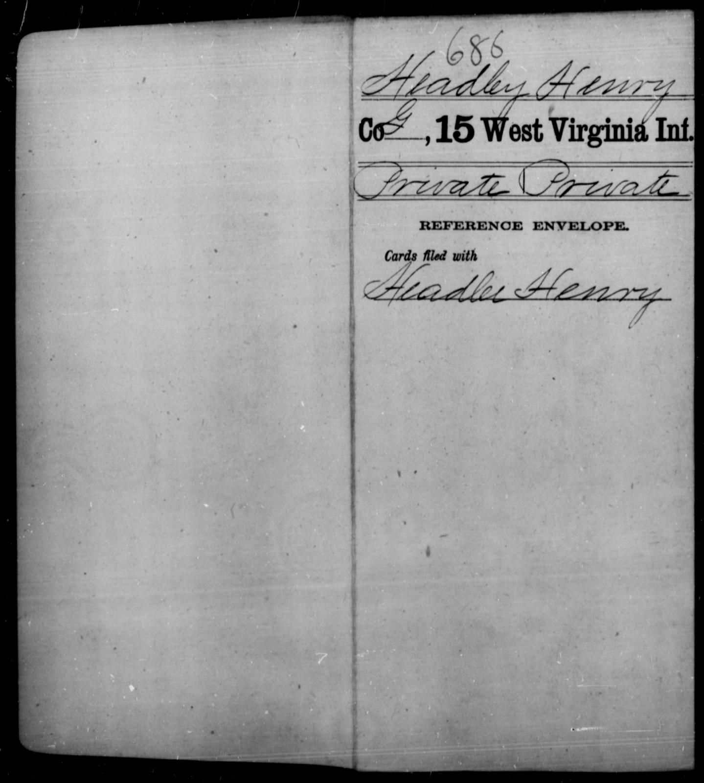 Headley, Henry - Age [Blank], Year: [Blank] - Fifteenth Infantry - West Virginia