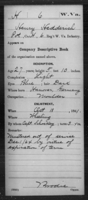 Hedderich, Henry - Age 27, Year: 1861 - Miscellaneous Card Abstracts of Records - West Virginia