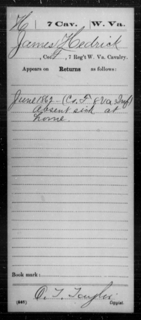 Hedrick, James - Age [Blank], Year: 1862 - Miscellaneous Card Abstracts of Records - West Virginia