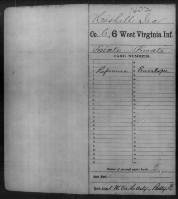 Heiskell, Ira - Age [Blank], Year: [Blank] - Sixth Infantry - West Virginia