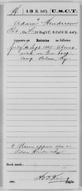 Henderson, Adam - Age [Blank], Year: 1865 - 13th US Colored Heavy Artillery, Misc Cards - United States Colored Troops: Artillery Organizations
