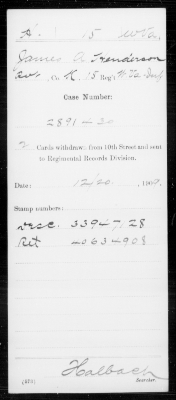 Henderson, James A - Age [Blank], Year: [Blank] - Miscellaneous Card Abstracts of Records - West Virginia
