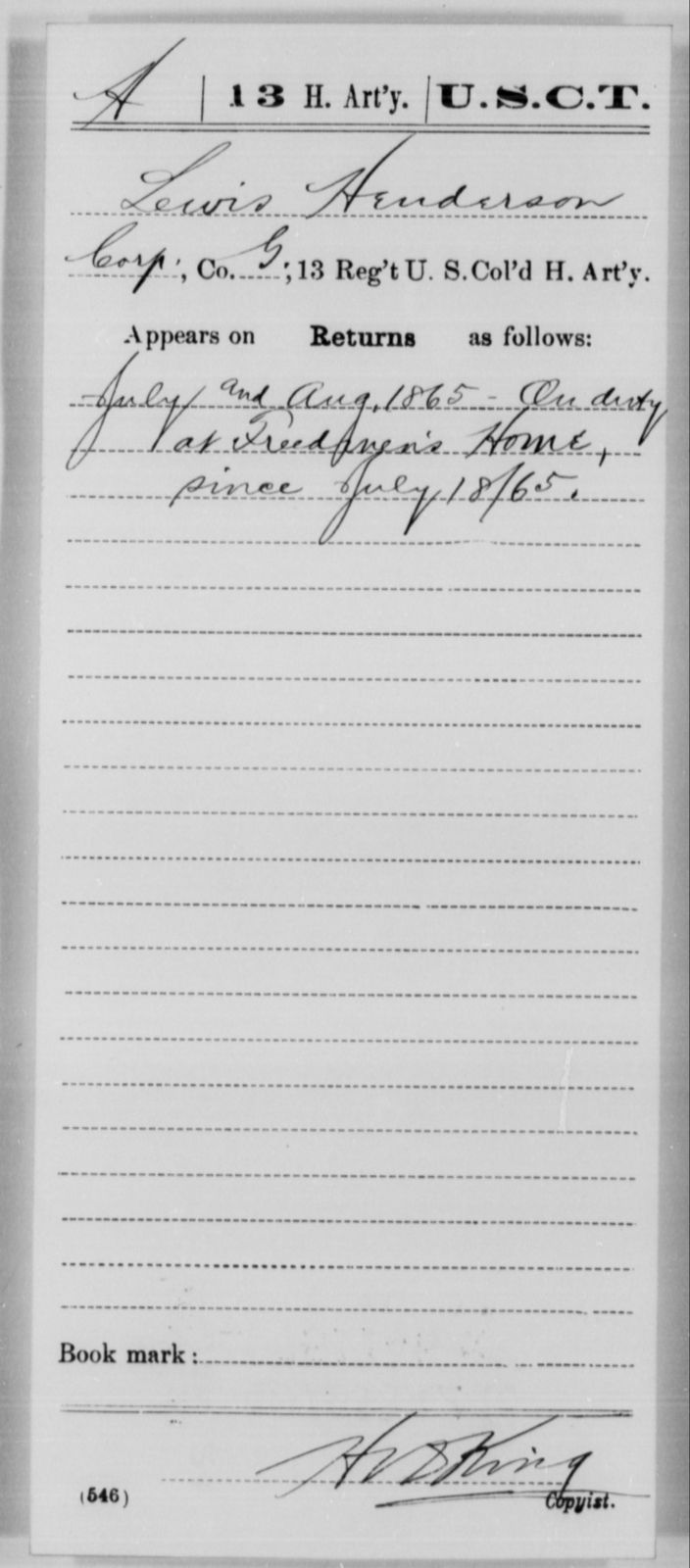 Henderson, Lewis - Age [Blank], Year: 1865 - 13th US Colored Heavy Artillery, Misc Cards - United States Colored Troops: Artillery Organizations