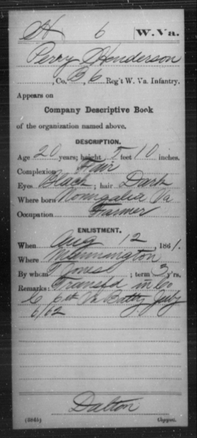 Henderson, Perry - Age 20, Year: 1861 - Miscellaneous Card Abstracts of Records - West Virginia