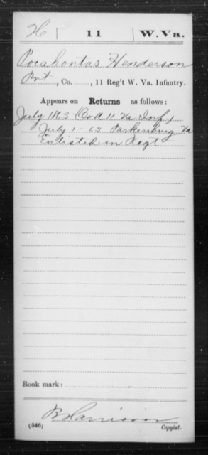 Henderson, Porahontas - Age [Blank], Year: 1863 - Miscellaneous Card Abstracts of Records - West Virginia