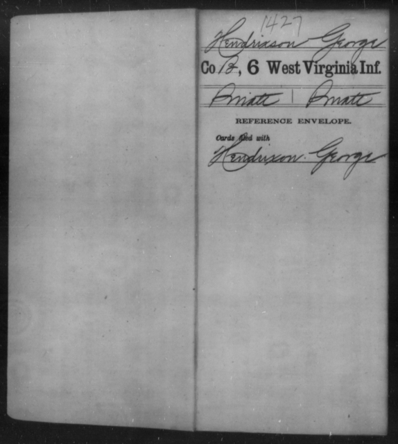 Hendrixson, George - Age [Blank], Year: [Blank] - Sixth Infantry - West Virginia