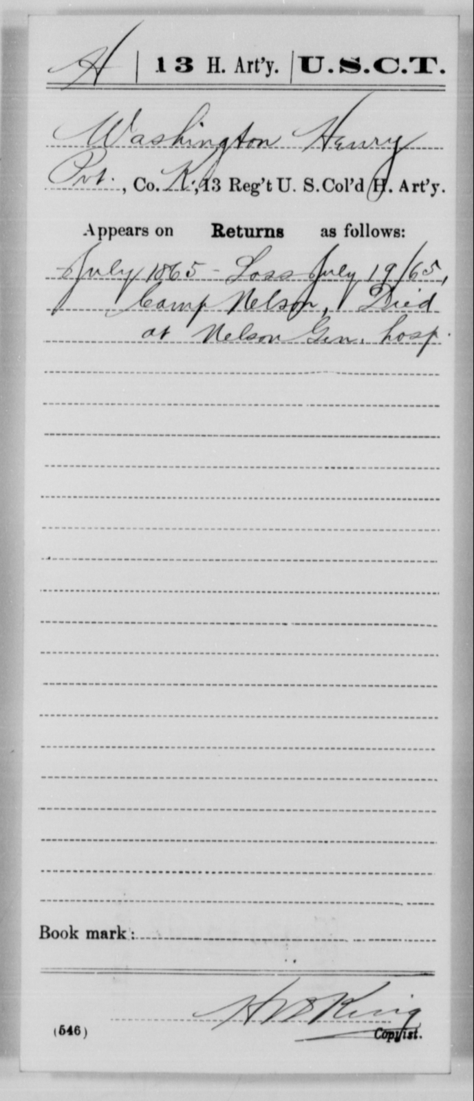Henry, Washington - Age [Blank], Year: 1865 - 13th US Colored Heavy Artillery, Misc Cards - United States Colored Troops: Artillery Organizations