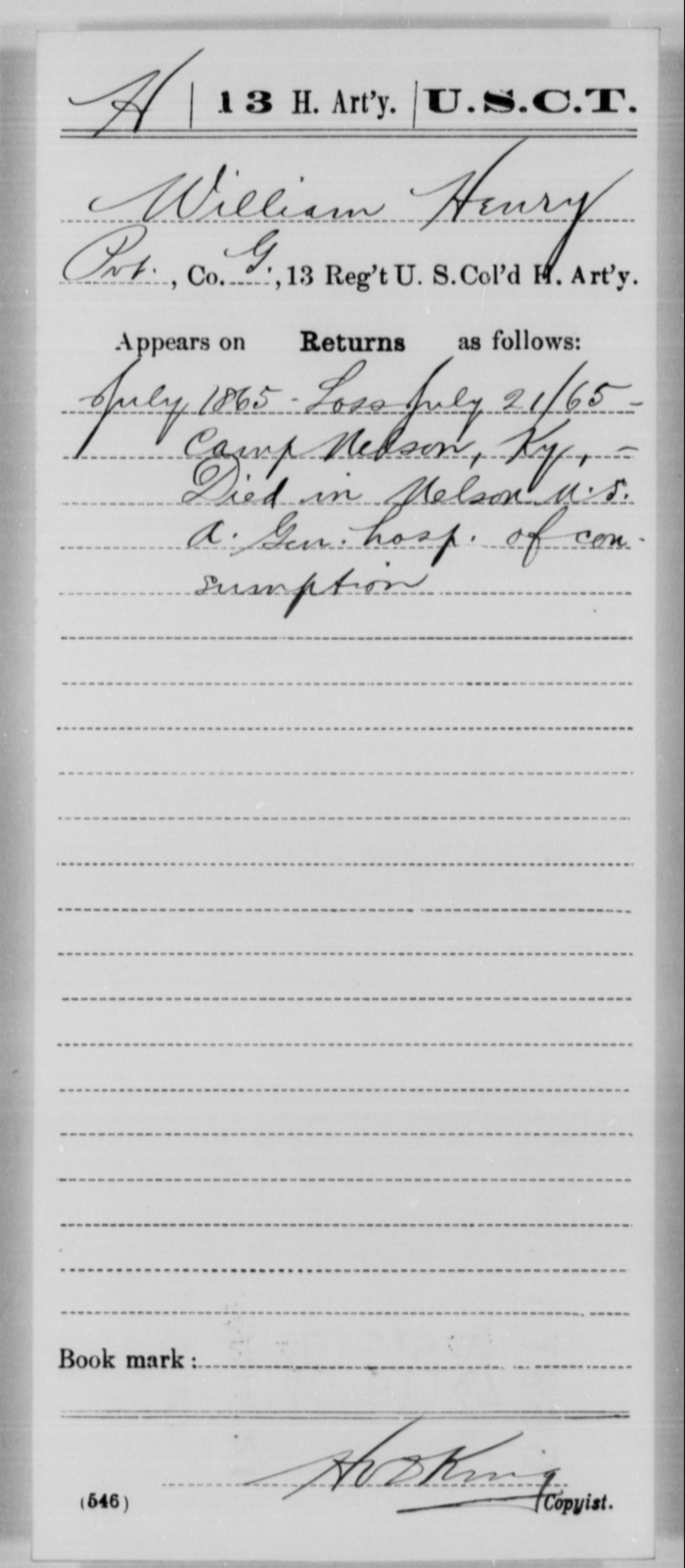 Henry, William - Age [Blank], Year: 1865 - 13th US Colored Heavy Artillery, Misc Cards - United States Colored Troops: Artillery Organizations