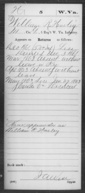 Hensley, William R - Age [Blank], Year: 1861 - Miscellaneous Card Abstracts of Records - West Virginia
