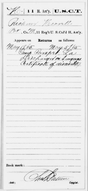 Herrell, Richard - Age [Blank], Year: 1865 - 11th US Colored Heavy Artillery, Misc Cards, E-Y - United States Colored Troops: Artillery Organizations