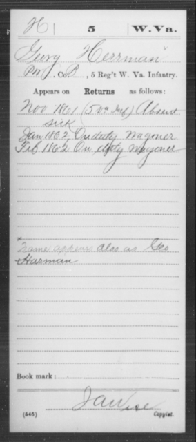Herrman, Georg - Age [Blank], Year: 1861 - Miscellaneous Card Abstracts of Records - West Virginia