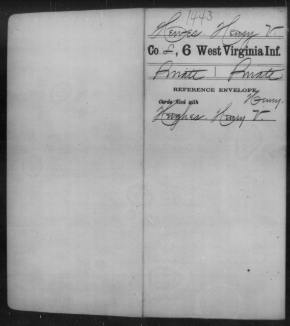 Hewes, Henry V - Age [Blank], Year: 1862 - Sixth Infantry - West Virginia