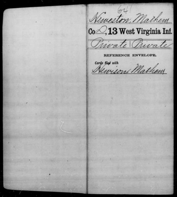 Heweston, Mathew - Age [Blank], Year: [Blank] - Thirteenth Infantry, A-W - West Virginia