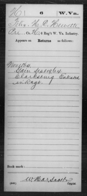 Hewette, Felix H C - Age [Blank], Year: 1864 - Miscellaneous Card Abstracts of Records - West Virginia