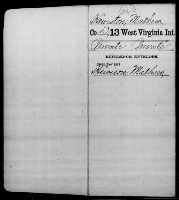 Hewiston, Mathew - Age [Blank], Year: [Blank] - Thirteenth Infantry, A-W - West Virginia