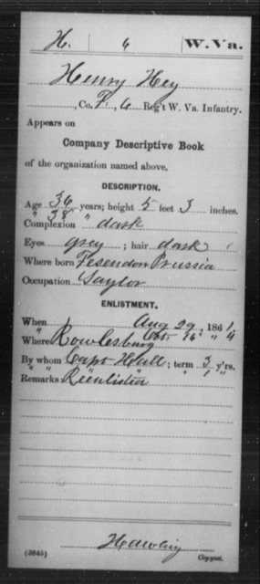 Hey, Henry - Age 36, Year: 1861 - Miscellaneous Card Abstracts of Records - West Virginia