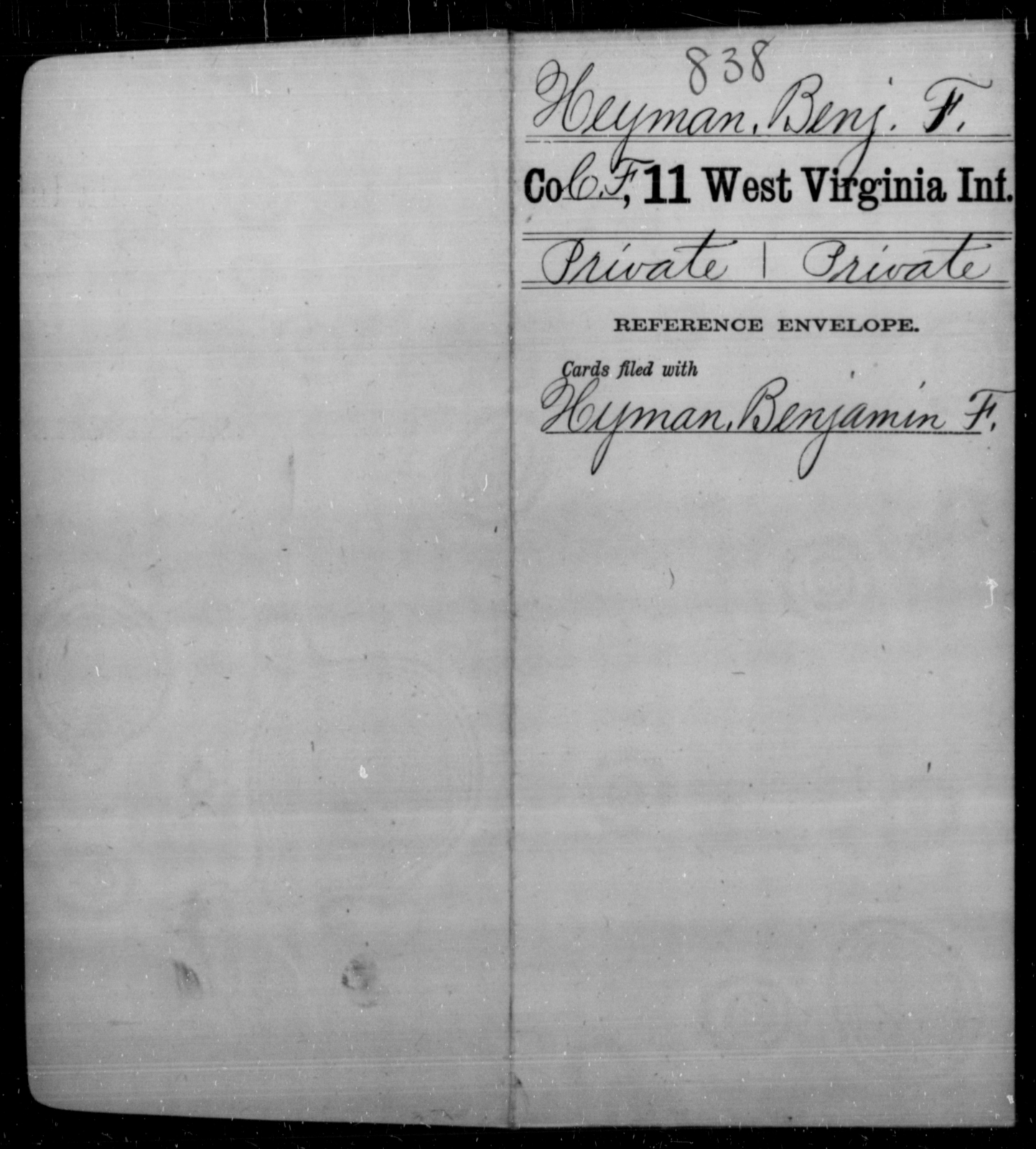 Heyman, Benj F - Age [Blank], Year: [Blank] - Eleventh Infantry - West Virginia
