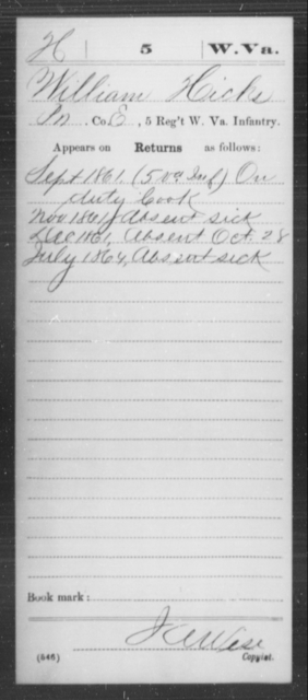 Hicks, William - Age [Blank], Year: 1861 - Miscellaneous Card Abstracts of Records - West Virginia