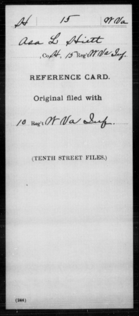 Hiett, Asa L - Age [Blank], Year: [Blank] - Miscellaneous Card Abstracts of Records - West Virginia
