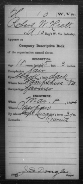 Hiett, Robert W - Age 18, Year: 1864 - Miscellaneous Card Abstracts of Records - West Virginia