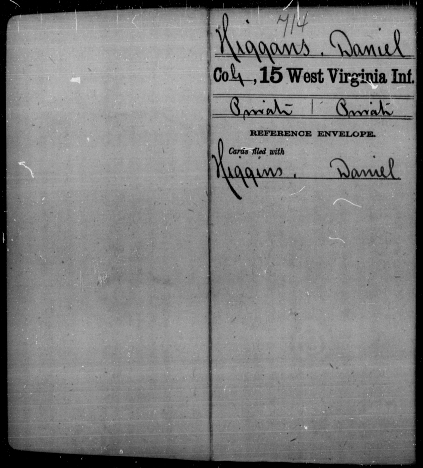 Higgans, Daniel - Age [Blank], Year: [Blank] - Fifteenth Infantry - West Virginia
