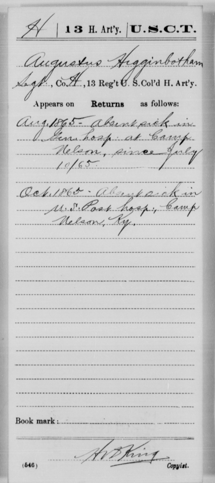 Higginbotham, Augustus - Age [Blank], Year: 1865 - 13th US Colored Heavy Artillery, Misc Cards - United States Colored Troops: Artillery Organizations