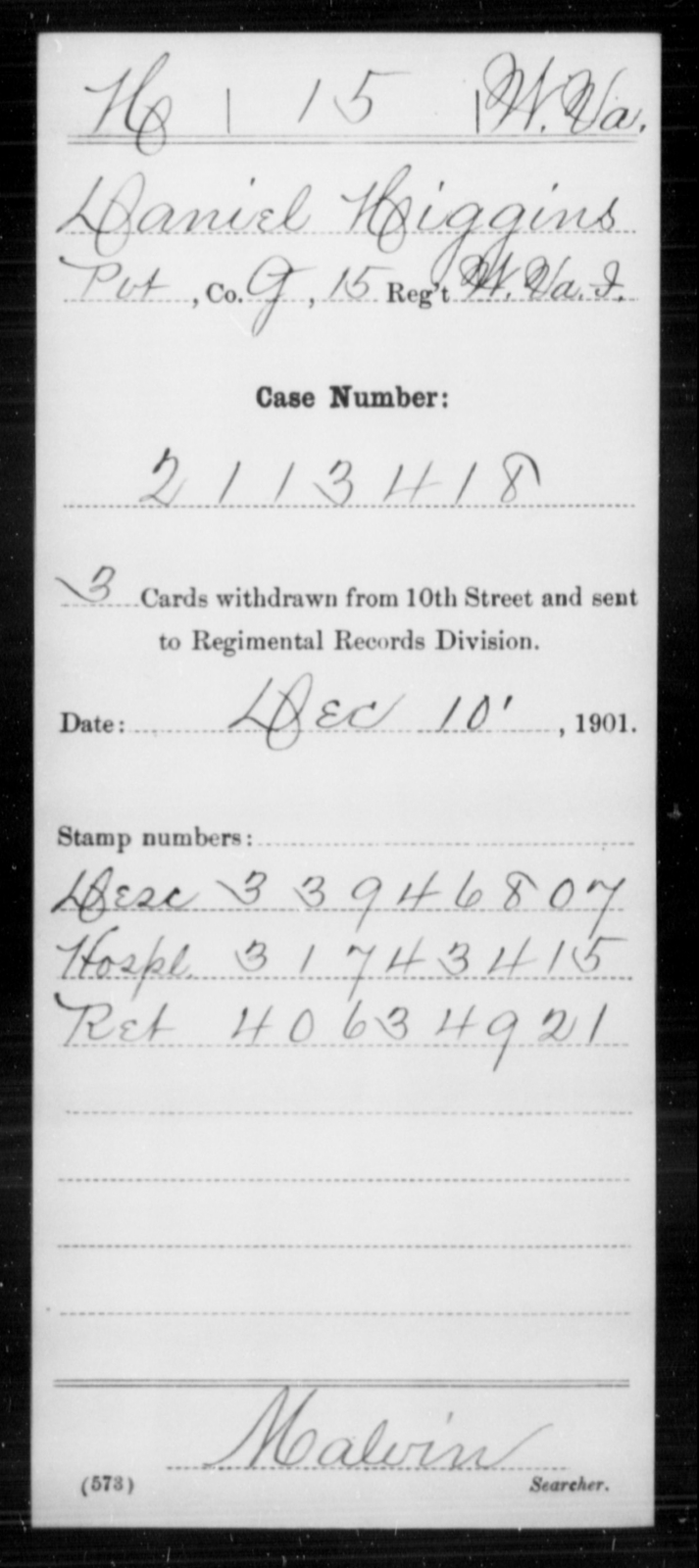 Higgins, Daniel - Age [Blank], Year: [Blank] - Miscellaneous Card Abstracts of Records - West Virginia
