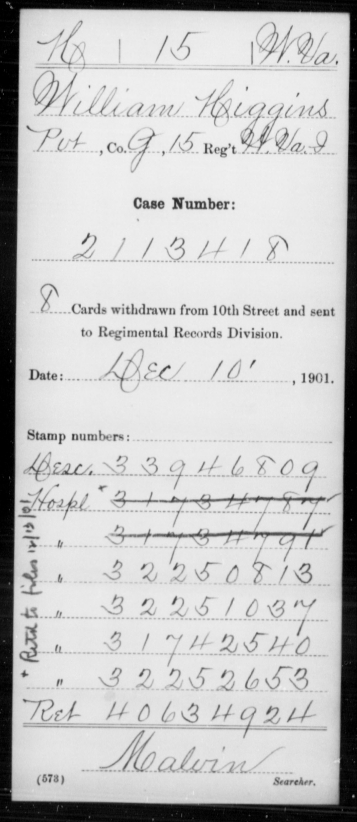 Higgins, William - Age [Blank], Year: [Blank] - Miscellaneous Card Abstracts of Records - West Virginia
