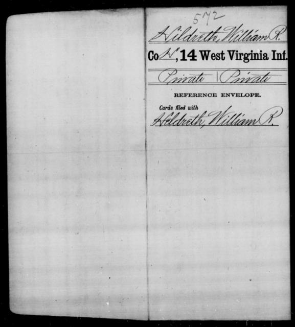 Hildreth, William R - Age [Blank], Year: [Blank] - Fourteenth Infantry, C-Z - West Virginia