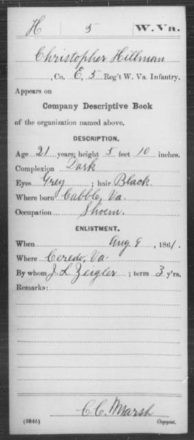 Hillman, Christopher - Age 21, Year: 1861 - Miscellaneous Card Abstracts of Records - West Virginia