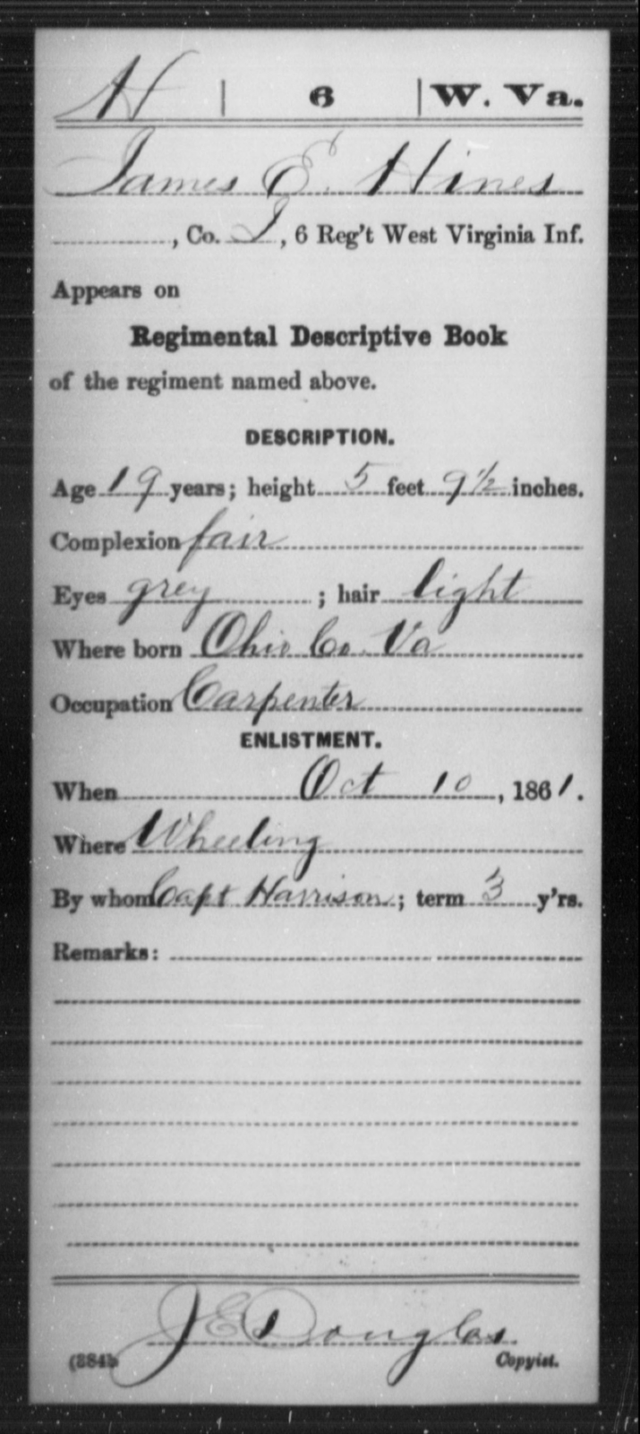 Hines, James E - Age 19, Year: 1861 - Miscellaneous Card Abstracts of Records - West Virginia