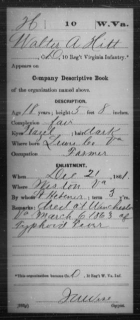 Hitt, Walter A - Age 18, Year: 1861 - Miscellaneous Card Abstracts of Records - West Virginia
