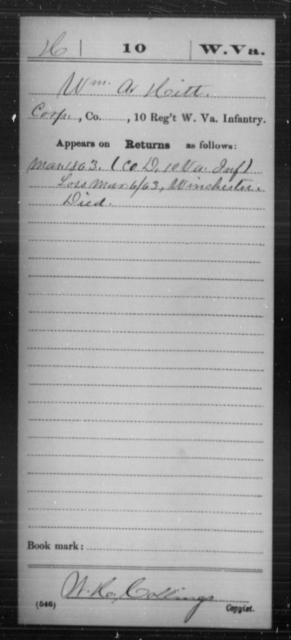 Hitt, Wm A - Age [Blank], Year: 1863 - Miscellaneous Card Abstracts of Records - West Virginia