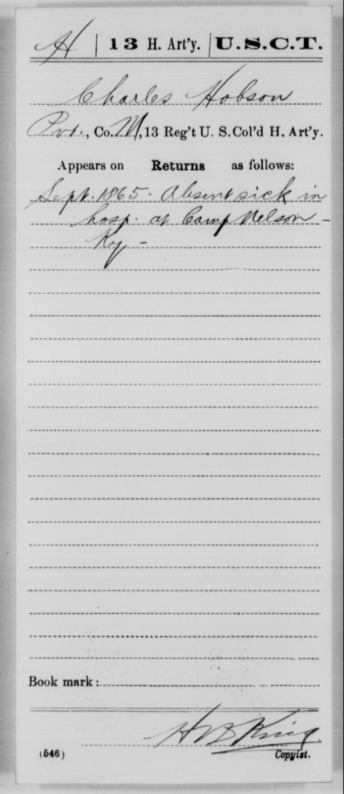 Hobson, Charles - Age [Blank], Year: 1865 - 13th US Colored Heavy Artillery, Misc Cards - United States Colored Troops: Artillery Organizations