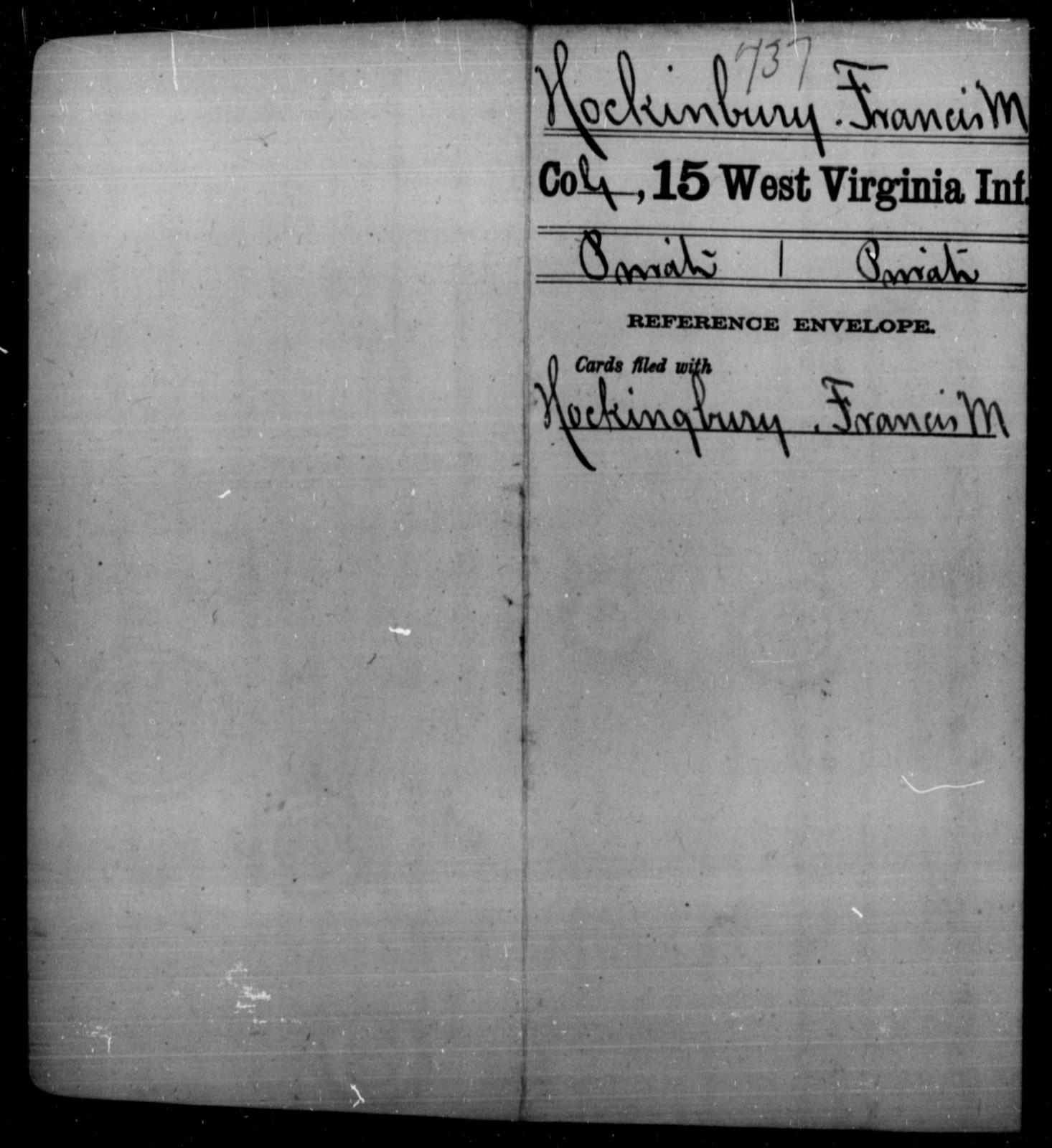 Hockinbury, Francis M - Age [Blank], Year: [Blank] - Fifteenth Infantry - West Virginia
