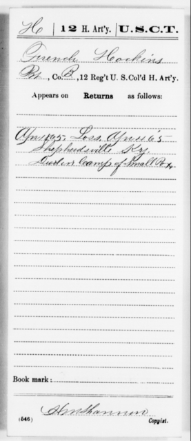 Hockins, French - Age [Blank], Year: 1865 - 12th US Colored Heavy Artillery, Misc Cards, H-Y - United States Colored Troops: Artillery Organizations