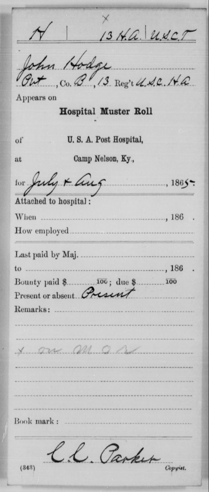 Hodge, John - Age [Blank], Year: 1865 - 13th US Colored Heavy Artillery, Misc Cards - United States Colored Troops: Artillery Organizations