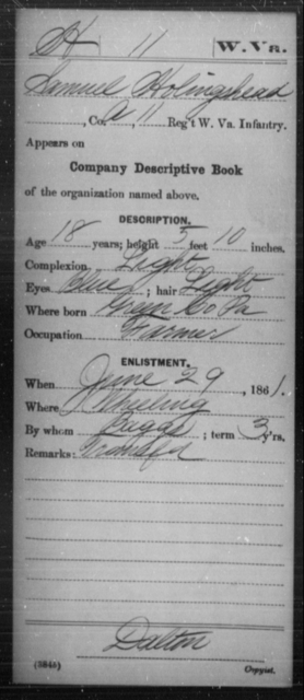 Holingshead, Samuel - Age 18, Year: 1861 - Miscellaneous Card Abstracts of Records - West Virginia