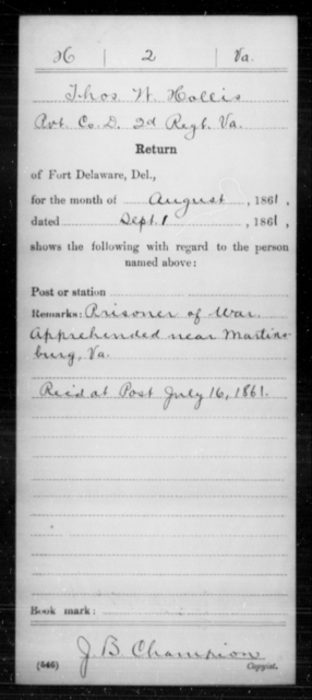 Hollis, Thos W - Age [Blank], Year: 1861 - Miscellaneous Card Abstracts of Records - West Virginia