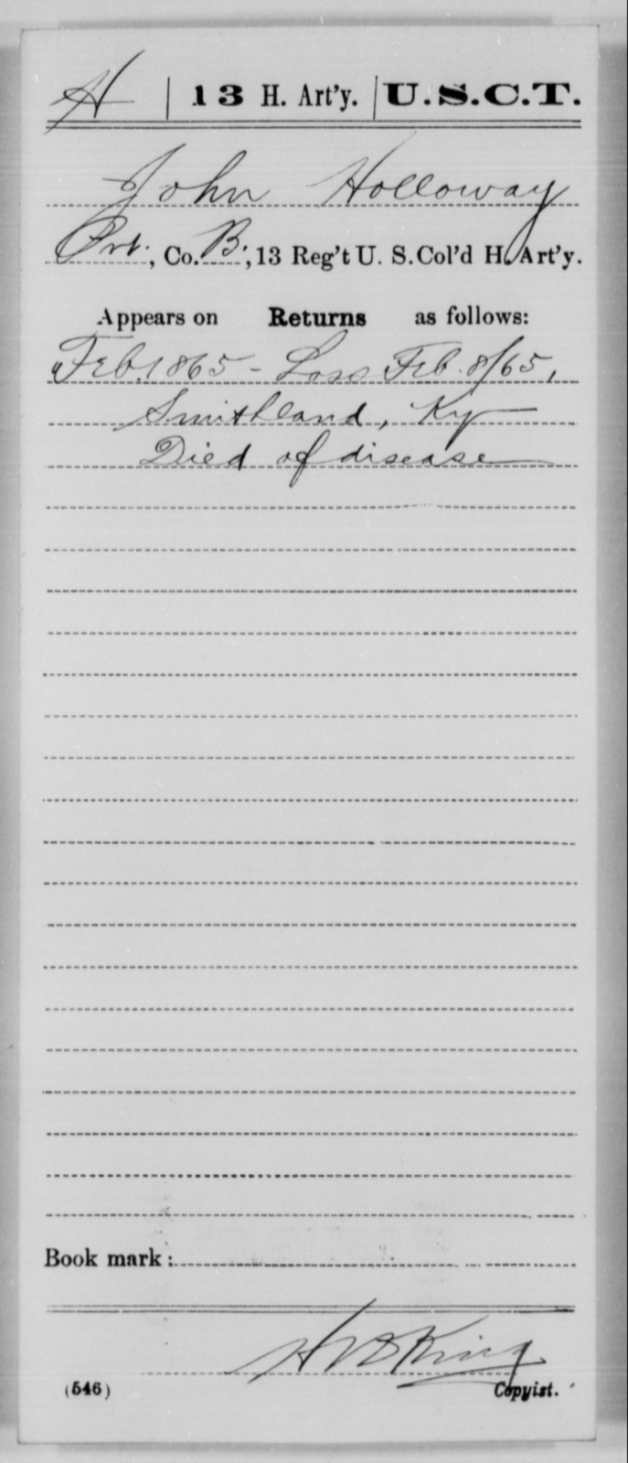 Holloway, John - Age [Blank], Year: 1865 - 13th US Colored Heavy Artillery, Misc Cards - United States Colored Troops: Artillery Organizations