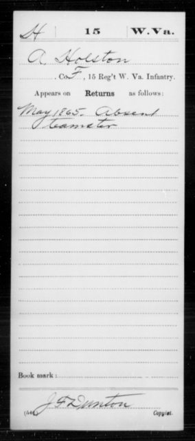 Holston, A - Age [Blank], Year: 1865 - Miscellaneous Card Abstracts of Records - West Virginia