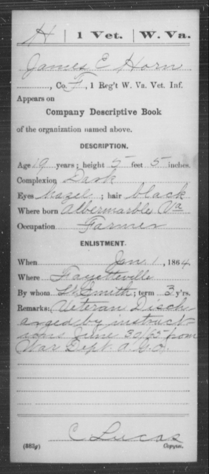 Horn, James E - Age 19, Year: 1864 - Miscellaneous Card Abstracts of Records - West Virginia