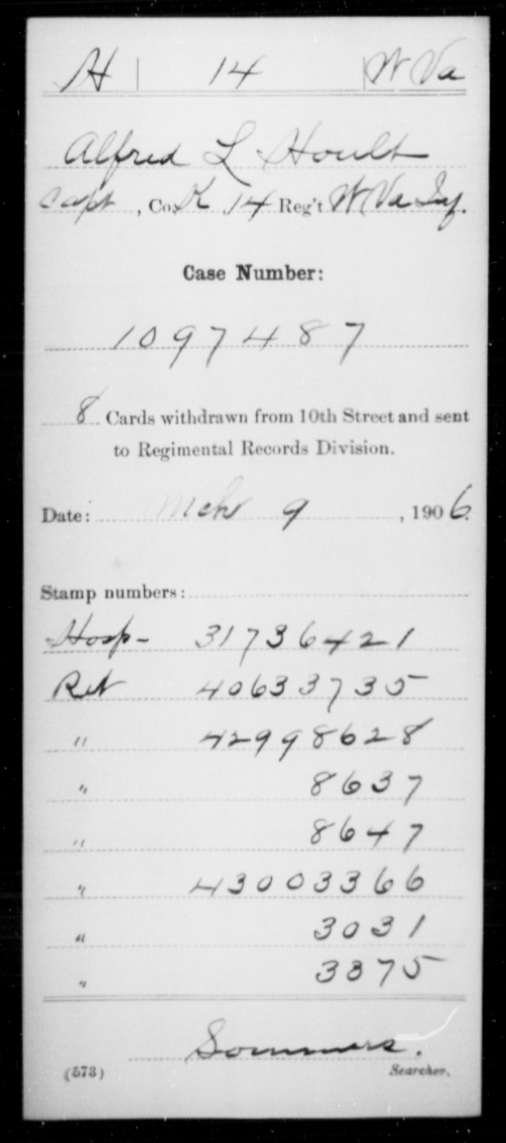 Hoult, Alfred L - Age [Blank], Year: [Blank] - Miscellaneous Card Abstracts of Records - West Virginia