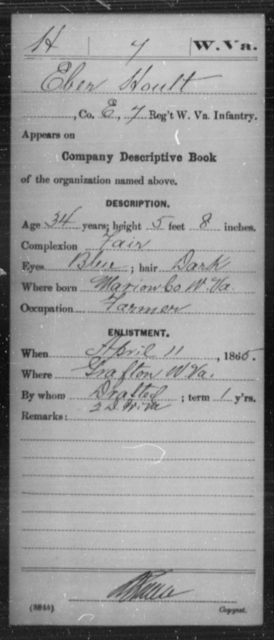 Hoult, Eber - Age 34, Year: 1865 - Miscellaneous Card Abstracts of Records - West Virginia